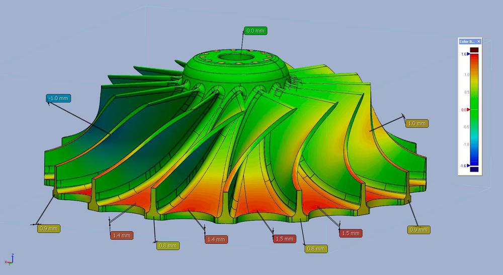 numérisation d'une roue de turbine et comparaison à la définition numérique